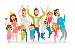 Family birthday party. Big family birthday party. Kids and parents celebrate. Mothers, fathers and child in hat dancing and laughing together. Group of happy Royalty Free Stock Photo