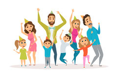 Family birthday party. Big family birthday party. Kids and parents celebrate. Mothers, fathers and child in hat dancing and laughing together. Group of happy Royalty Free Stock Photography