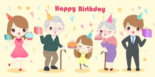 Family with birthday party. Cute cartoon family with happy birthday party Royalty Free Stock Image