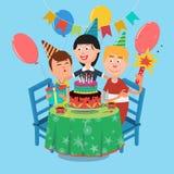 Family Birthday Party. Happy Family Celebrating Sons Birthday. Vector. Illustration Royalty Free Stock Photo
