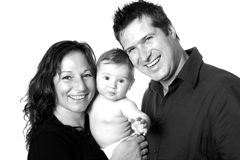 Family in black and white Stock Image
