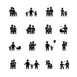 Family Black White Icons Set Stock Photo