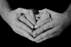 Family. Black and white newborn family photo stock photography