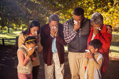 Family blowing nose while in park Royalty Free Stock Photography