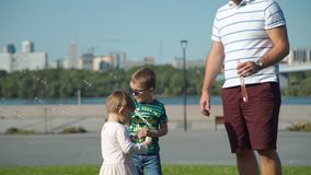 Family blowing soap bubbles in summer park stock footage