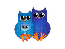 Family of blue owls Stock Photography