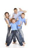 Family in blue shirts Royalty Free Stock Photography
