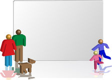 Family board. 3d family in front of a empty board Royalty Free Stock Image