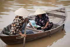 Family in boat Hoi An, Vietnam Royalty Free Stock Image