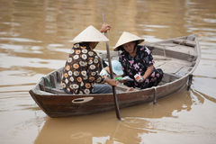 Family in boat Hoi An, Vietnam Royalty Free Stock Photography