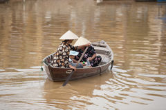 Family in boat Hoi An, Vietnam Stock Photo