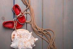 Family boat shoes Stock Photo