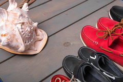 Family boat shoes Royalty Free Stock Images