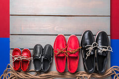 Family boat shoes Royalty Free Stock Photography