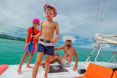 Family on a boat trip.  Royalty Free Stock Image