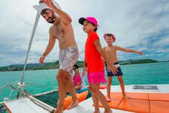 Family on a boat trip.  royalty free stock images