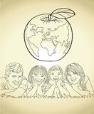 Family Bond and World Future Vector Illustration Sketch. For many purpose such as poster campaign environment, happiness, health, wealth, humanity, social and Stock Illustration