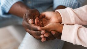 Free Family Bonding. African American Grandfather And Child Holding Hands Together, Closeup. Panorama Stock Photos - 179726053