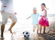 Family Bonding Running Sand Beach Summer Concept.  royalty free stock photo