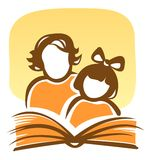 Family and book. Stylized silhouettes of the girl and the woman, reading the book Royalty Free Stock Images