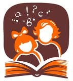 Family and book. Stylized silhouettes of the girl and the woman, reading the book Stock Photography