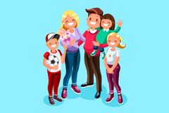 Family book character vector teens. Happy hours of kids with dad and mom. Minimal people character vector illustration flat design Stock Photos