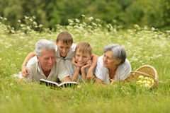 Family with book on summer grass. Happy cute smiling family with book on green summer grass with apples royalty free stock image