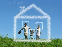 Family with boy on meadow and dream cloud house. Collage royalty free stock photos