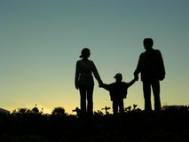 Family with boy silhouette Royalty Free Stock Images