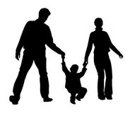 Family with boy silhouette Stock Images