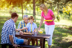 Family break from a game of chess Royalty Free Stock Images