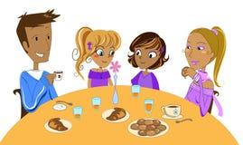 Family at breakfast. Multiracial family having breakfast. Vector illustration