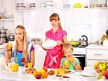 Family  breakfast with child Stock Images