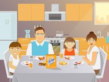 Family Breakfast Flat Royalty Free Stock Images