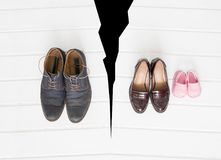 Family breakup concept. Shoes concept royalty free stock images