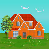 Family brick house, illustration Royalty Free Stock Photos