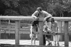 Family on bridge Royalty Free Stock Image