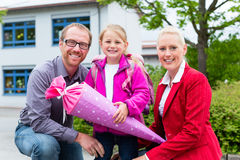 Family bringing daughter to first day at school Stock Image
