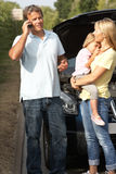 Family Broken Down On Country Road royalty free stock images