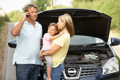 Family Broken Down On Country Road Royalty Free Stock Photos