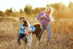 Family. Brother, sister and dog. Stock Photo