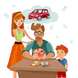 Family Budget Finance Plan Flat Poster. Home budget planning with family income expenses and target money saving for dream purchase concept flat vector Royalty Free Stock Photos