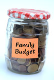 Family budget. Jar full with coins symbolizing the family budget Stock Images