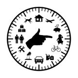 Family budget modern clock. Clock with symbols of family expenses sources all over its face and a hand pointing to chosen ones Stock Photos