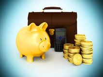 Family budget piggy bank briefcase 3d rendering on blue backgrou. Family budget piggy bank briefcase 3d rendering on blue Royalty Free Stock Image