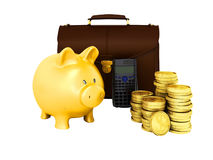 Family budget piggy bank briefcase 3d rendering on white backgro. Und no Royalty Free Stock Photo