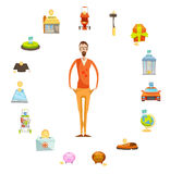 Family Budget Round Composition. Family budget composition of full length male character with empty pockets surrounded by valuable things circle vector Stock Images