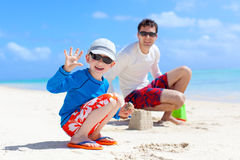 Family building sand castle Royalty Free Stock Images