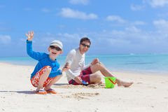 Family building sand castle Stock Photography