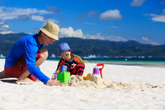 Family building sandcastle Royalty Free Stock Photo